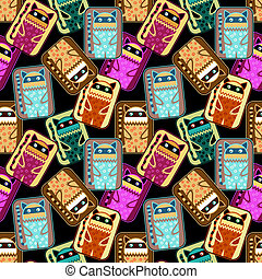 seamless pattern with fantasy cat