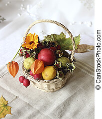 Basket with autumn goodies - basket of organically reared...