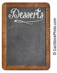 desserts menu on blackboard