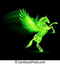 Fire Pegasus - Green fire Pegasus rearing up Illustration on...