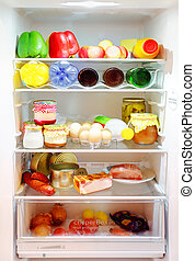 Fridge - White Open Fridge with a many products