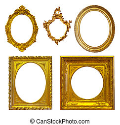 Set of few Luxury gilded frames. Isolated over white...