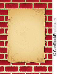 brickwall parchment - Paper poster on parchment attached to...
