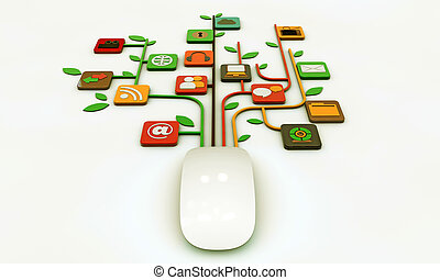 computer mouse connected with web icons