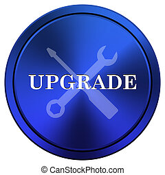 Upgrade icon - Metallic icon with white design on blue...