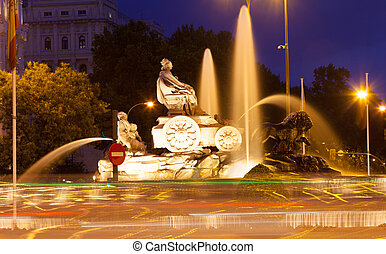 Cibeles Fountain at Plaza de Cibeles in evening Madrid,...