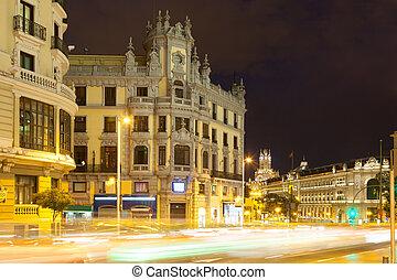 Gran Via in night. Madrid