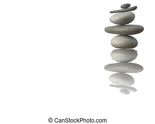 Stones - Pyramid of Stones isolated on white Reflected with...