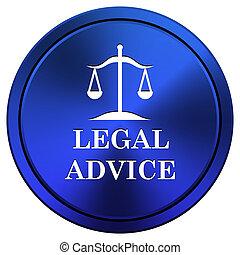 Legal advice icon - Metallic icon with white design on blue...