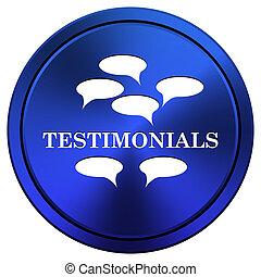 Testimonials icon - Metallic icon with white design on blue...