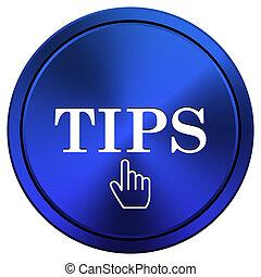 Tips icon - Metallic icon with white design on blue...