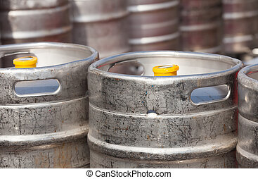 aluminium beer kegs in rows outdoor