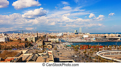 sea side in sunny day Barcelona - Top view of sea side in...