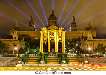 National Palace of Montjuic in night Barcelona, Catalonia