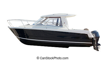 Side view of motor boat Isolated over white background