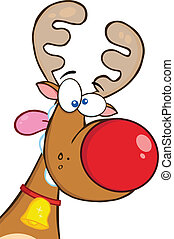 Crazy Reindeer With Red Nose Cartoon Mascot Character