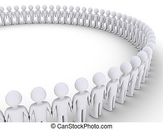 People form a big circle