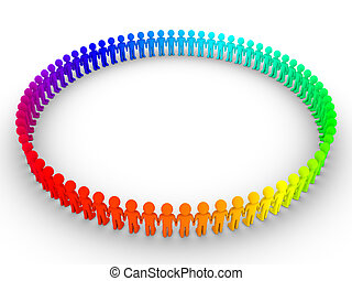 Different people form a big circle