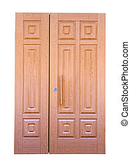 wooden double door Isolated over white background
