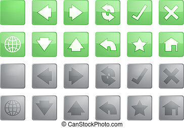 Navigation icons - Navigation icon set of glossy buttons,...