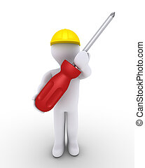 Person as worker with screwdriver