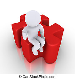 Person sitting on puzzle piece - 3d happy person is sitting...