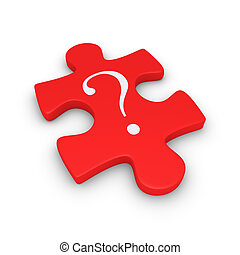Puzzle piece with question mark - 3d puzzle piece with a...