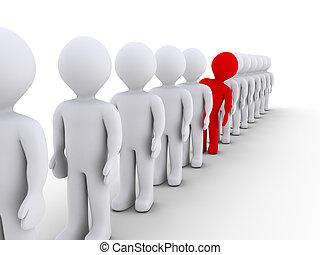 pessoas, fila, mas, um, diferente