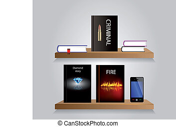 Bookshelf - Vector bookshelf with some books and shelfs...