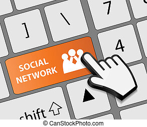 Keyboard Social network button with mouse hand cursor vector illustration