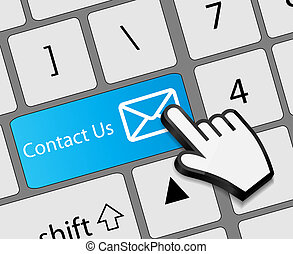 Keyboard Contact Us button with mouse hand cursor vector illustration