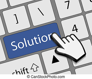 Keyboard solution button with mouse hand cursor vector...