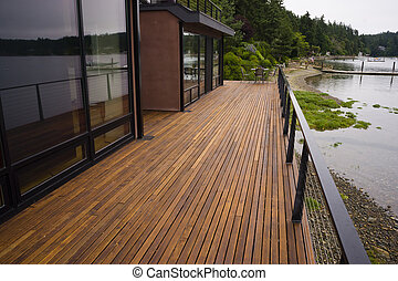 Wood Plank Deck Patio Beach Water Contemporary Waterfront...