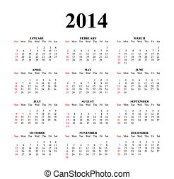 2014 Clear Simple Calendar - 2014 calendar designed on a...