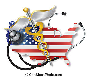 Stethoscope with USA Flag Map and Caduceus - Stethoscope...