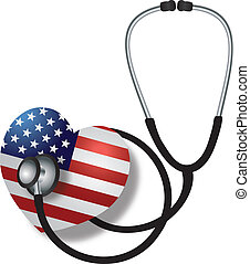 Stethoscope Listening to Heartbeat with USA Flag -...