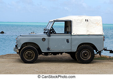 Land Rover Series II 88 on Aitutaki Lagoon Cook Islands -...
