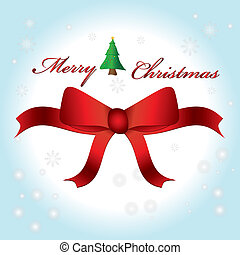 Merry Christmas lettering greeting with bow and background