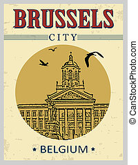 Brussels poster - Brussels, Belgium in vintage style poster,...