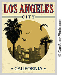 Los Angeles poster - Los Angeles city from California in...