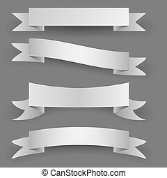 Blank paper banners with shadow template isolated on white...