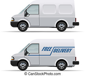 White delivery van realistic vector icon isolated on white...