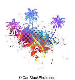 Colorful Palm Trees Grunge
