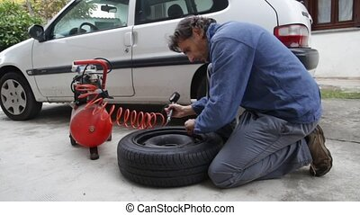 tire pressure - checking car tire
