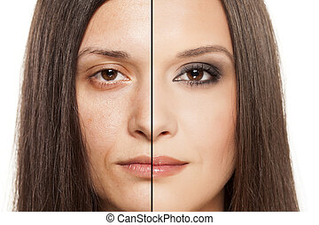 the magic of makeup - a womans face with handing out before...