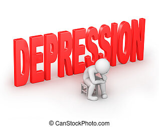 depression, 3d human sits on a chair i with a work path