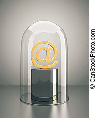 email under a glass dome
