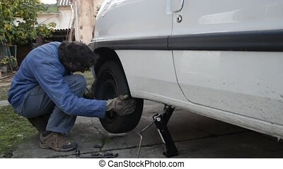 spare wheel - changing car tire