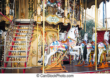Old fashioned french carousel, roundabout - Horses at old...