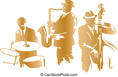 Jazz trio sketch, vector illustration